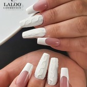 The ULTIMATE winter french!! By @rania_tzima 🤍❄️🌬️ . Used:  Laloo Acrygel Dark Cover,  White pasta gel, Laloo 01, Laloo 134,  Sugar glitter powder no1,  Matte non wipe top,  Marina Korotkova nail forms. . #laloonails #laloocosmetics #laloo #laloomania #nailstyle #nailart #nailartist #instanails #frenchnails